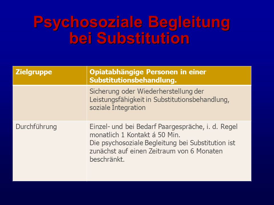 Psychosoziale Begleitung bei Substitution