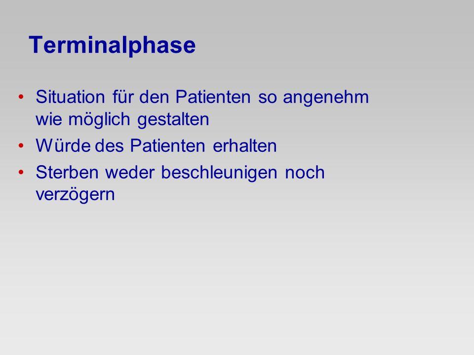 Terminalphase Situation für den Patienten so angenehm wie möglich gestalten. Würde des Patienten erhalten.