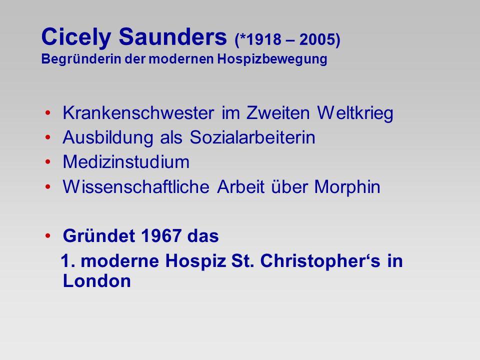Cicely Saunders (*1918 – 2005) Begründerin der modernen Hospizbewegung