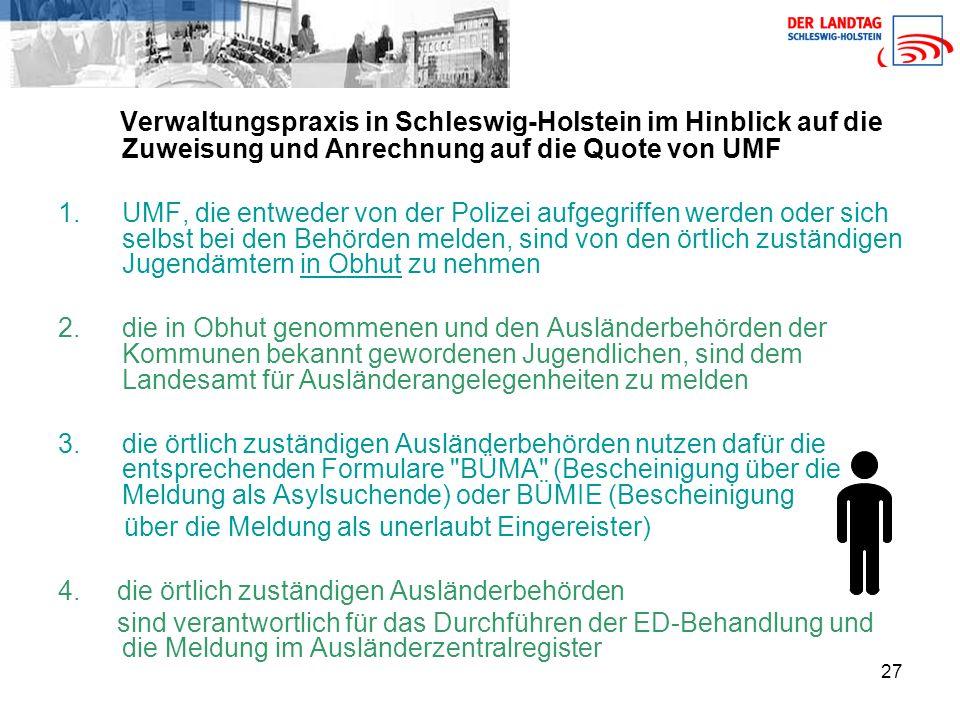 Verwaltungspraxis in Schleswig-Holstein im Hinblick auf die Zuweisung und Anrechnung auf die Quote von UMF