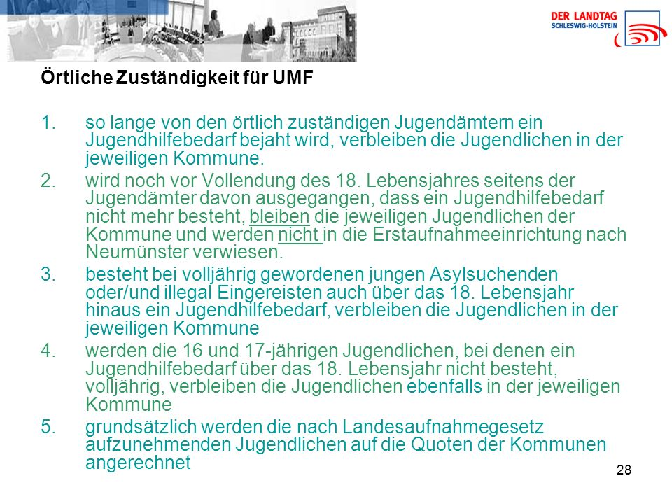Örtliche Zuständigkeit für UMF