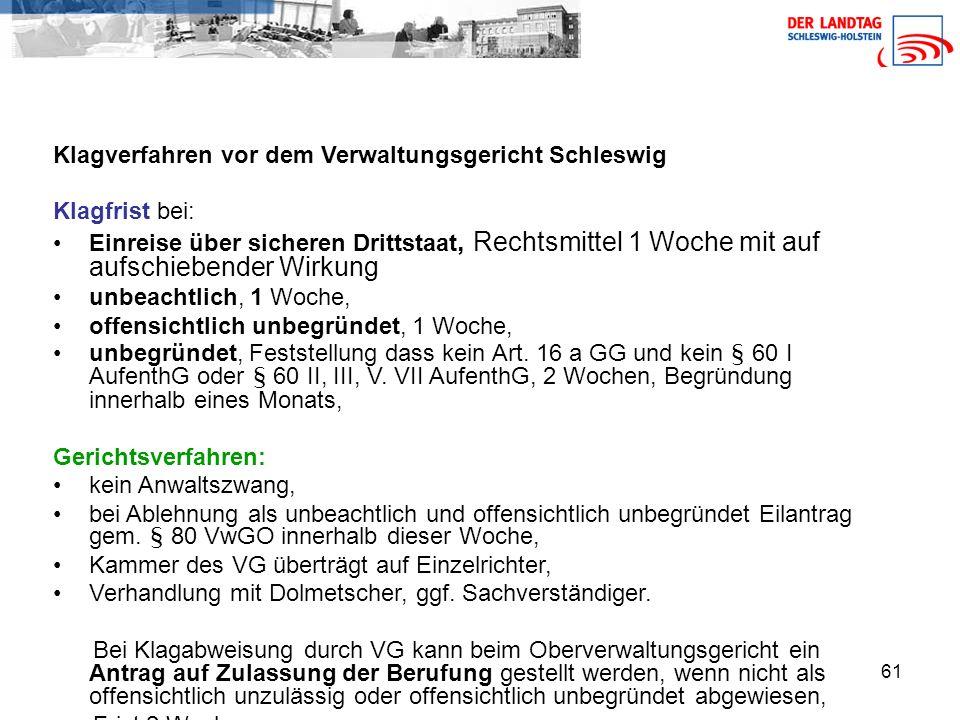 Klagverfahren vor dem Verwaltungsgericht Schleswig