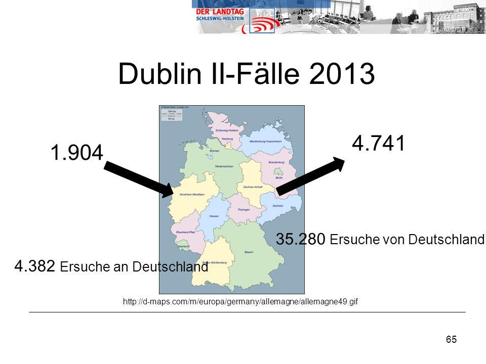 Dublin II-Fälle 2013 4.741 1.904 35.280 Ersuche von Deutschland