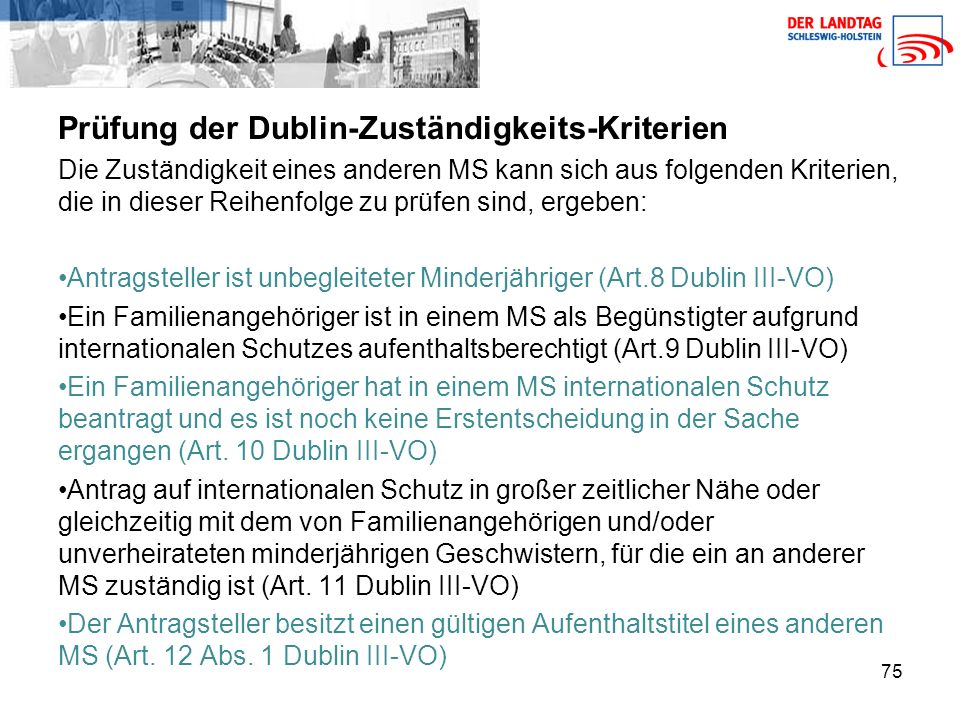 Prüfung der Dublin-Zuständigkeits-Kriterien