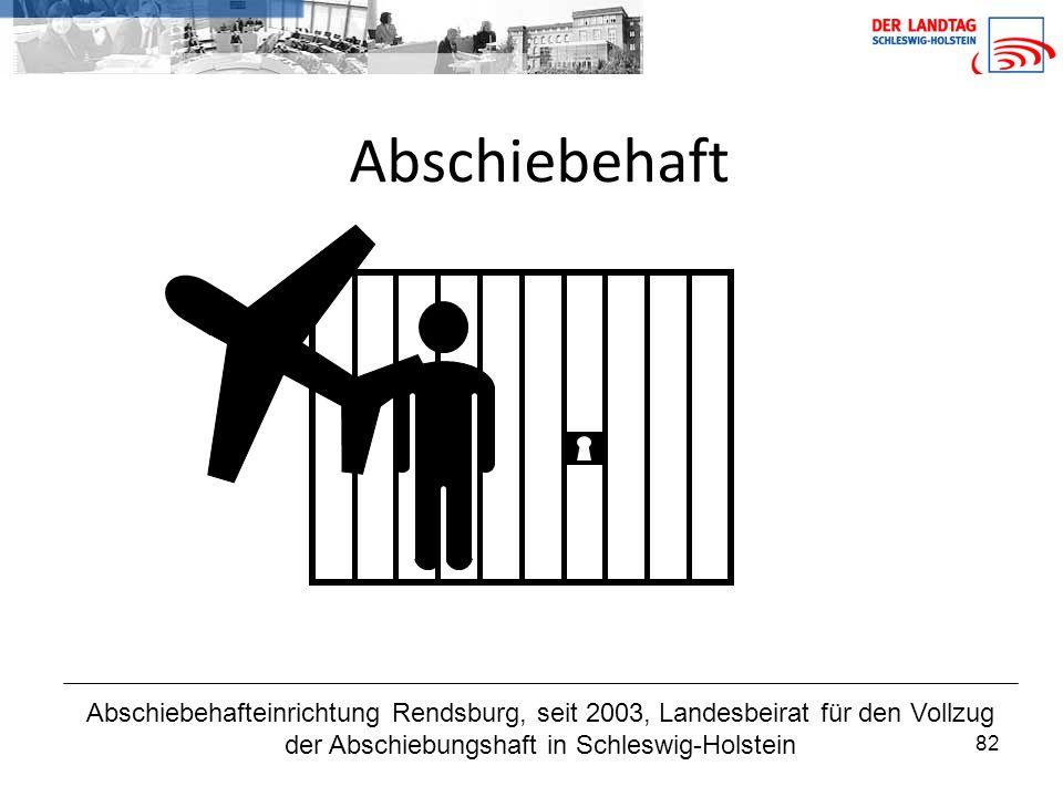 Abschiebehaft Abschiebehafteinrichtung Rendsburg, seit 2003, Landesbeirat für den Vollzug der Abschiebungshaft in Schleswig-Holstein.