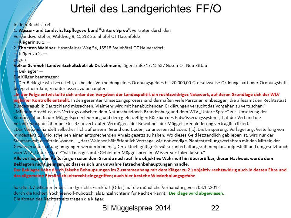 Urteil des Landgerichtes FF/O