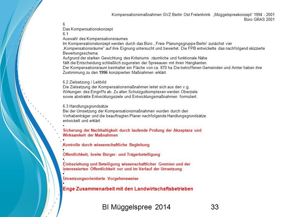 """Kompensationsmaßnahmen GVZ Berlin Ost Frelenbrink """"Müggelspreekonzept 1994 - 2001"""