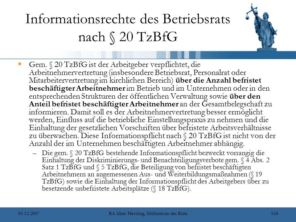 Informationsrechte des Betriebsrats nach § 20 TzBfG