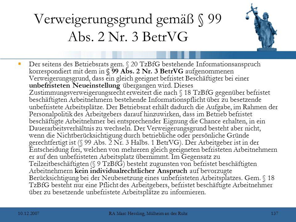 Verweigerungsgrund gemäß § 99 Abs. 2 Nr. 3 BetrVG