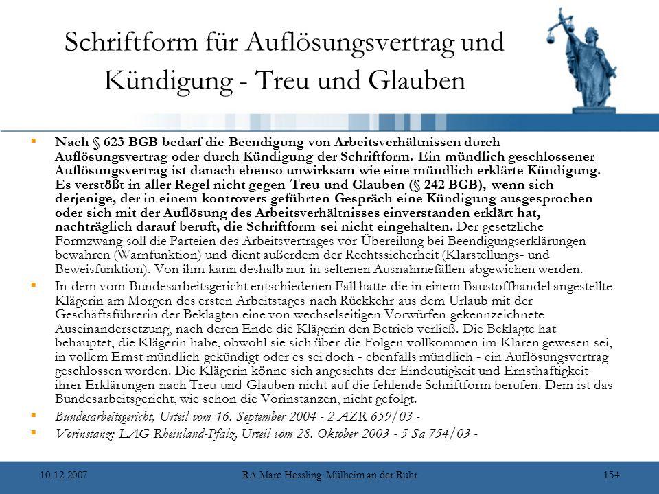 Schriftform für Auflösungsvertrag und Kündigung - Treu und Glauben