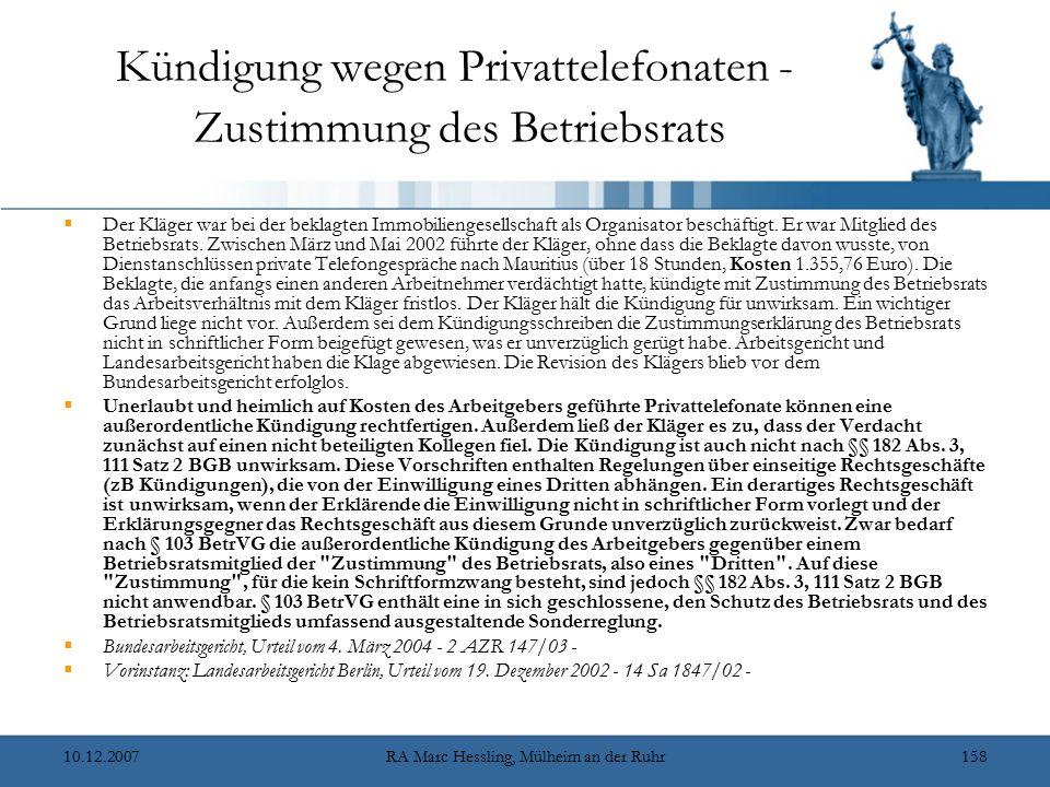Kündigung wegen Privattelefonaten - Zustimmung des Betriebsrats