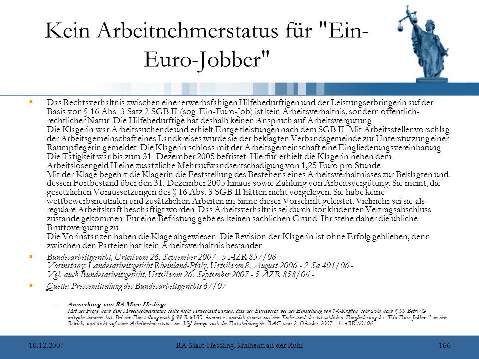Kein Arbeitnehmerstatus für Ein-Euro-Jobber