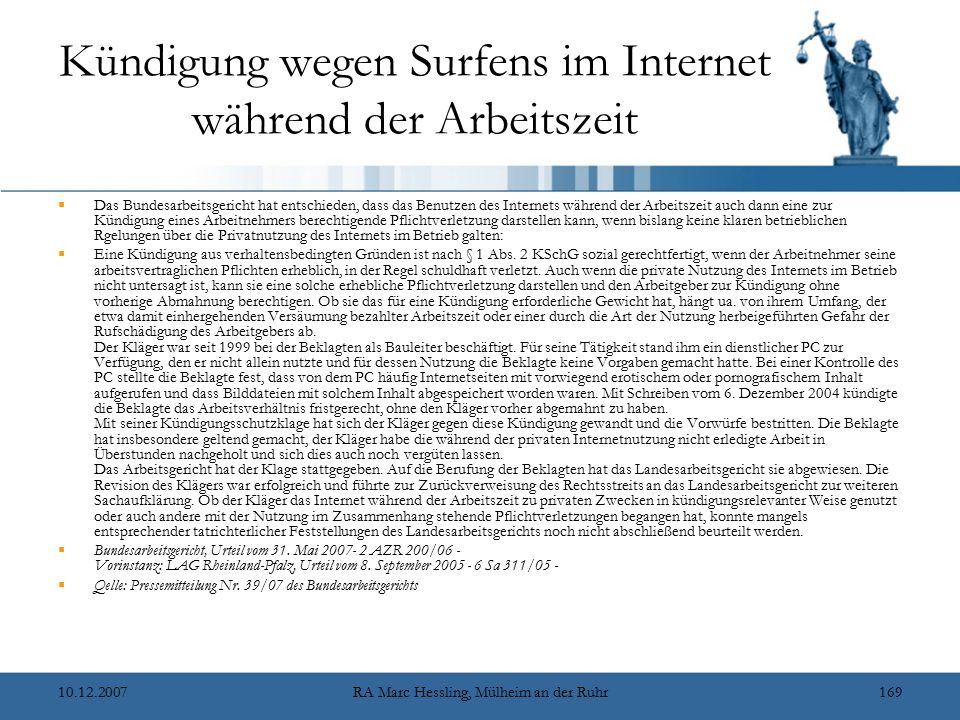 Kündigung wegen Surfens im Internet während der Arbeitszeit