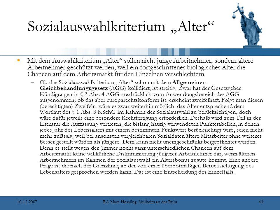 """Sozialauswahlkriterium """"Alter"""