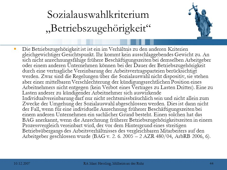 """Sozialauswahlkriterium """"Betriebszugehörigkeit"""
