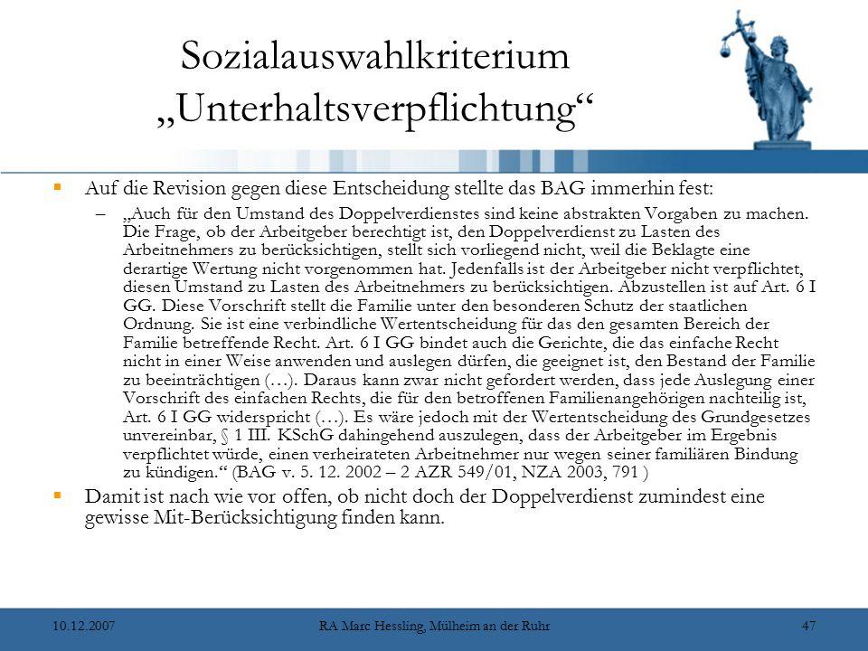 """Sozialauswahlkriterium """"Unterhaltsverpflichtung"""