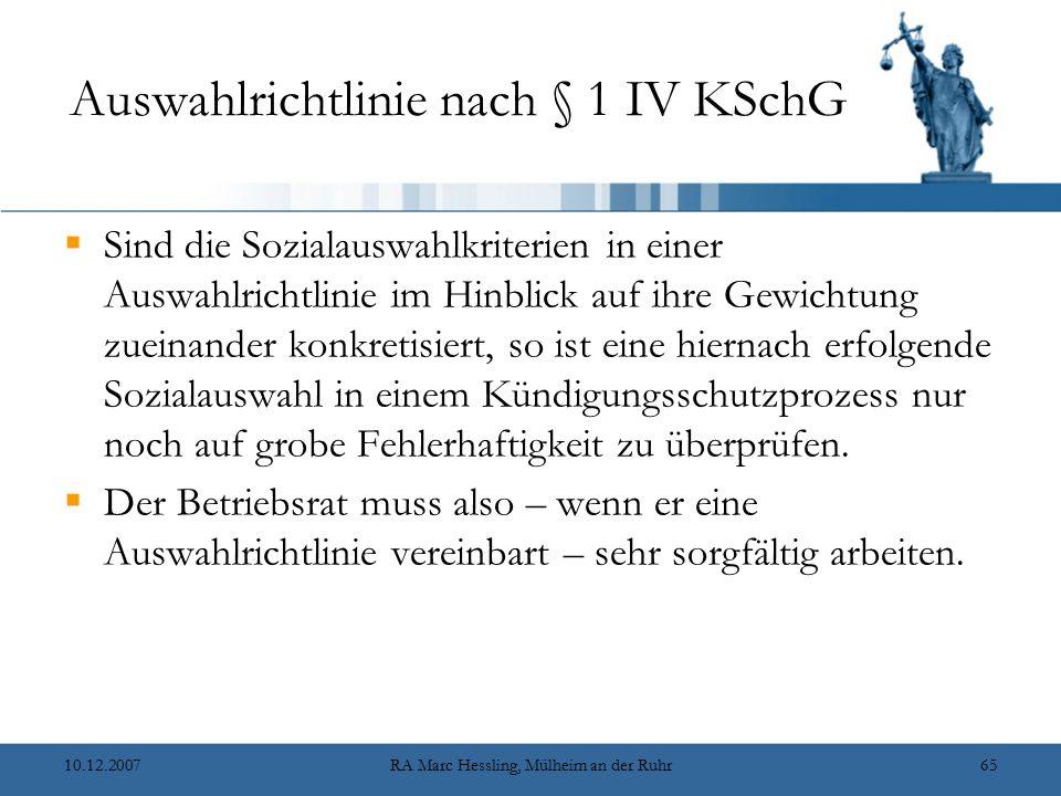 Auswahlrichtlinie nach § 1 IV KSchG