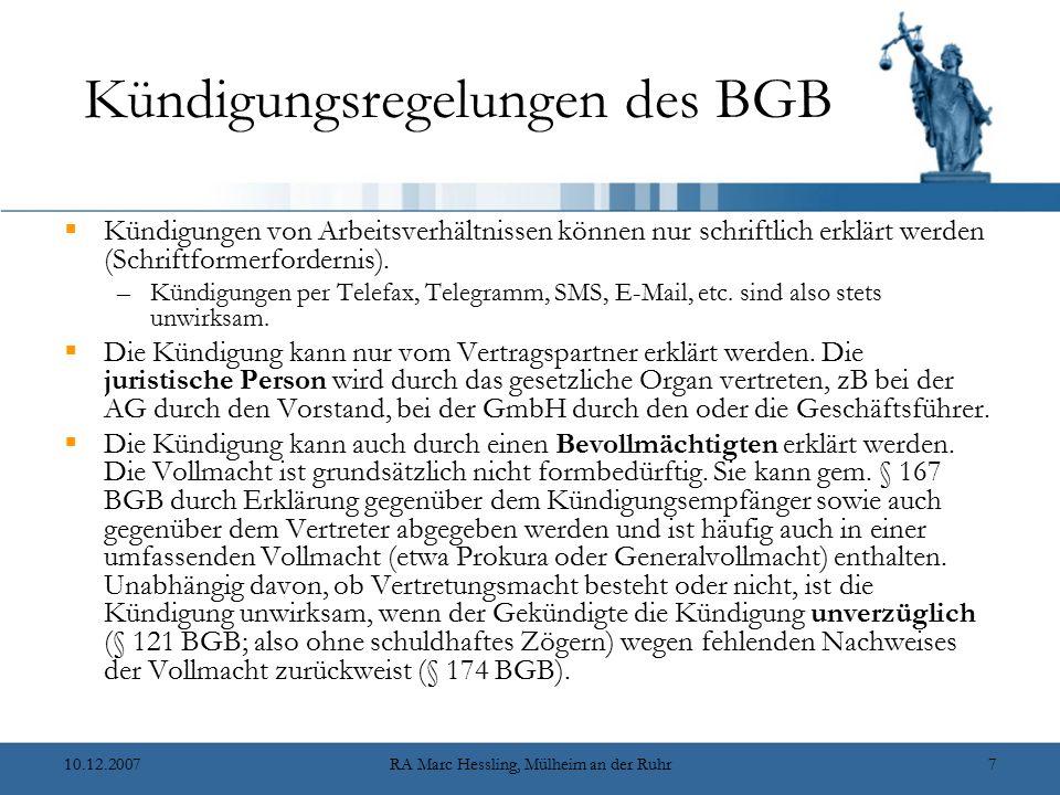 Kündigungsregelungen des BGB