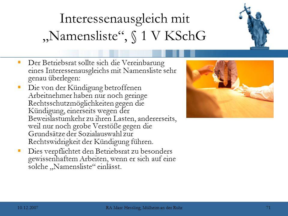 """Interessenausgleich mit """"Namensliste , § 1 V KSchG"""