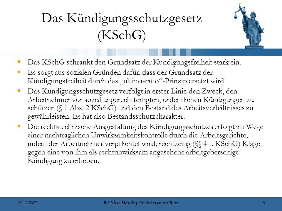 Das Kündigungsschutzgesetz (KSchG)