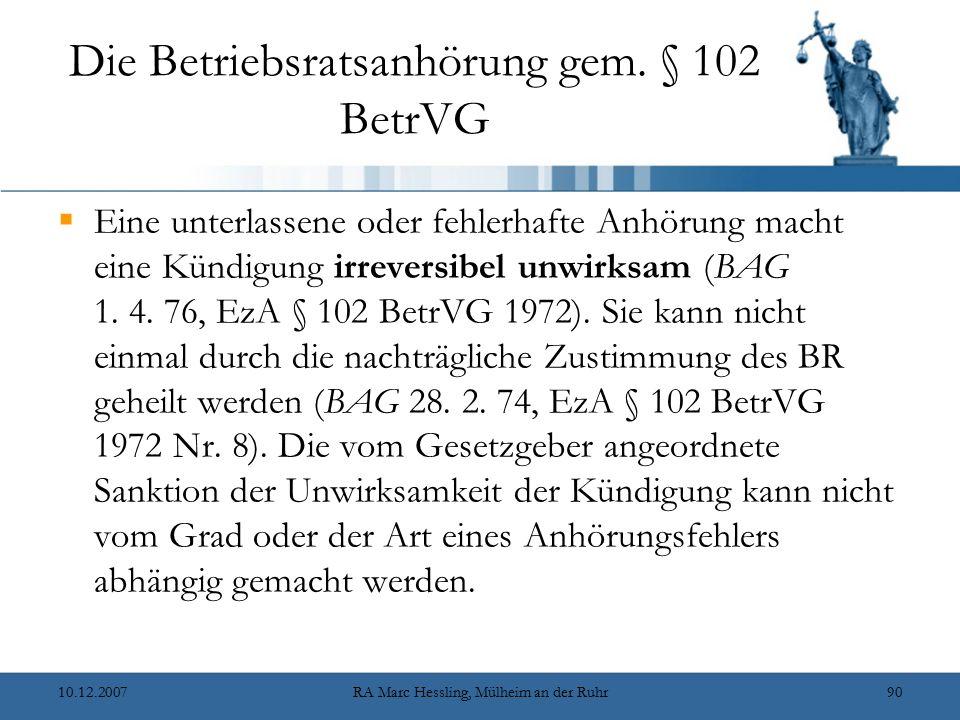 Die Betriebsratsanhörung gem. § 102 BetrVG