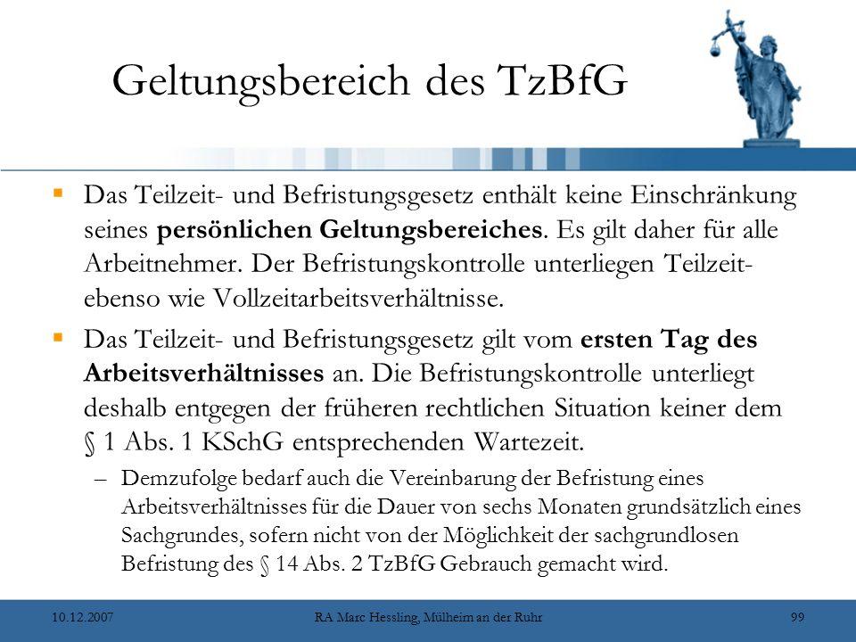 Geltungsbereich des TzBfG