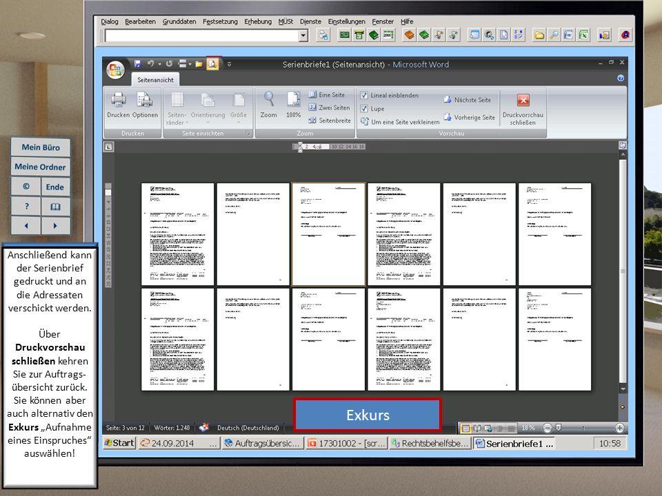 Anschließend kann der Serienbrief gedruckt und an die Adressaten verschickt werden.