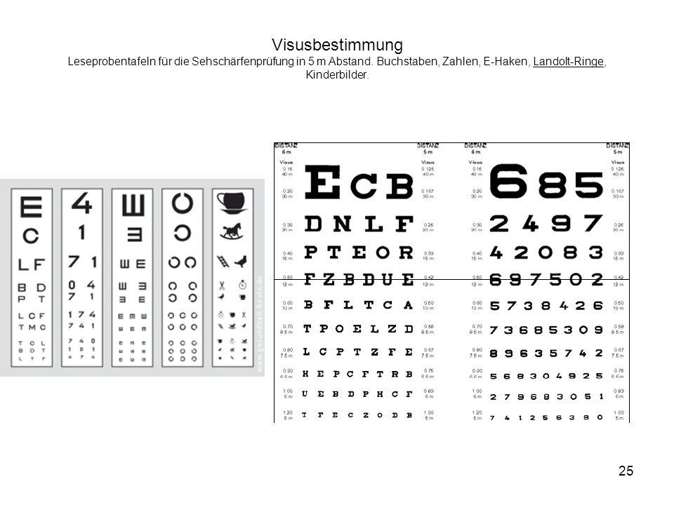 Visusbestimmung Leseprobentafeln für die Sehschärfenprüfung in 5 m Abstand.