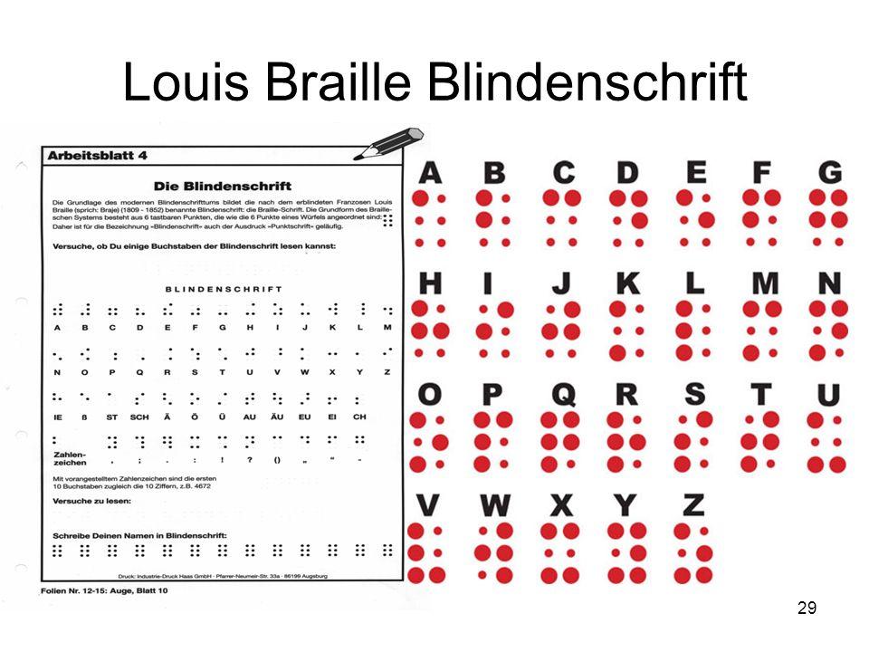 Louis Braille Blindenschrift