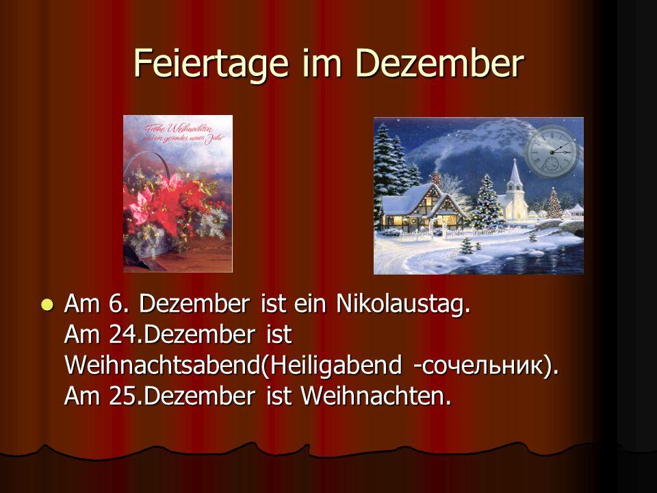 Feiertage im Dezember