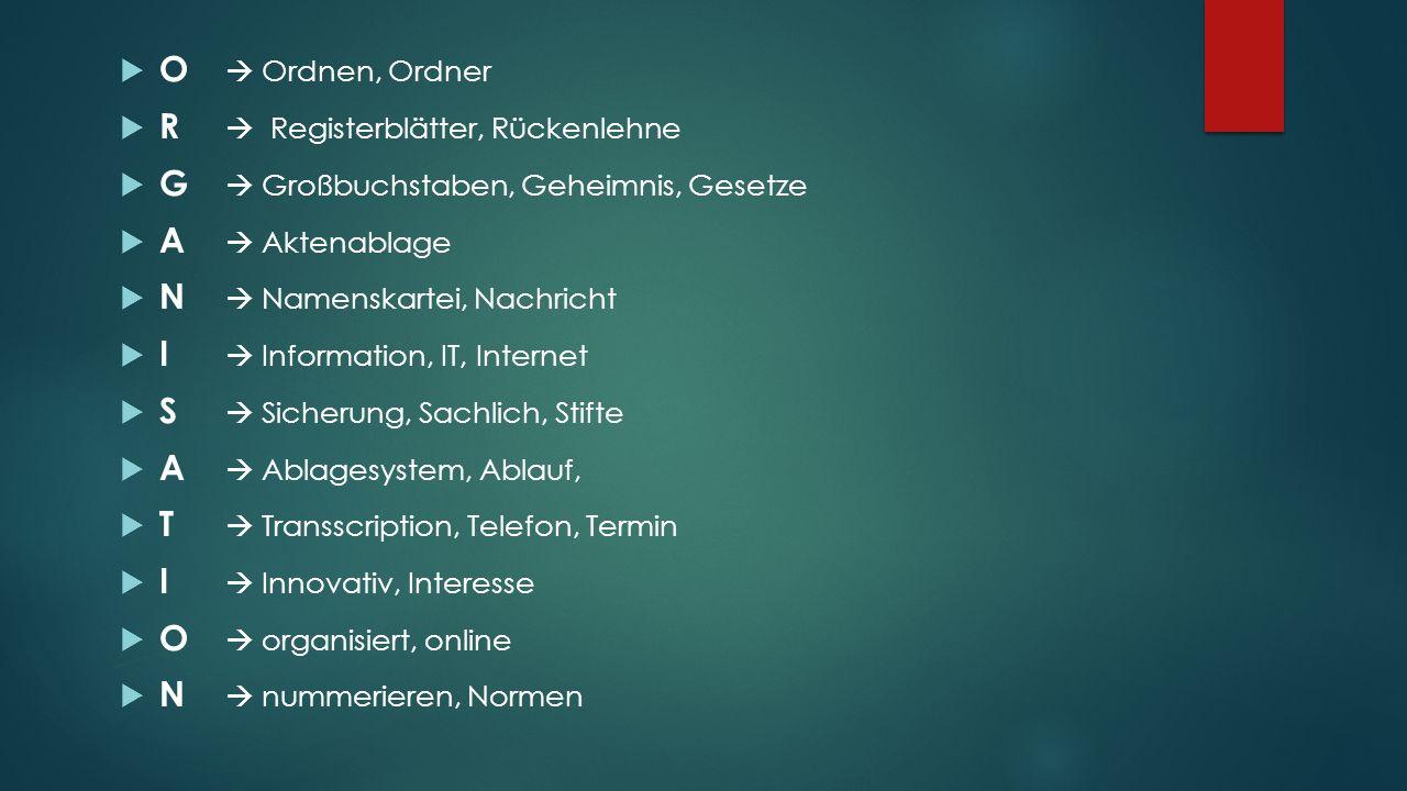 O  Ordnen, Ordner R  Registerblätter, Rückenlehne. G  Großbuchstaben, Geheimnis, Gesetze. A  Aktenablage.