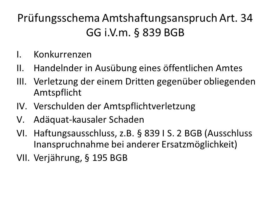 Prüfungsschema Amtshaftungsanspruch Art. 34 GG i.V.m. § 839 BGB