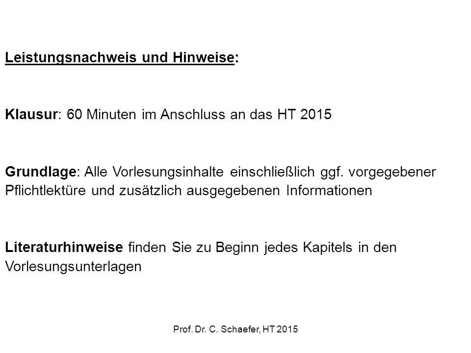Leistungsnachweis und Hinweise: