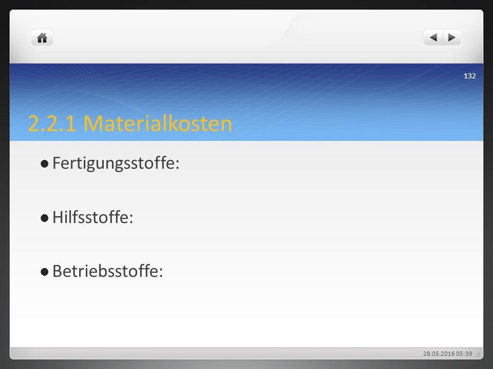 2.2.1 Materialkosten Fertigungsstoffe: Hilfsstoffe: Betriebsstoffe: