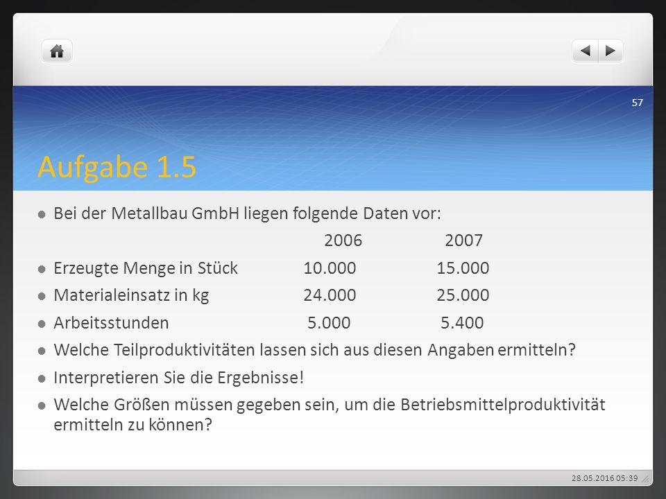 Aufgabe 1.5 Bei der Metallbau GmbH liegen folgende Daten vor: