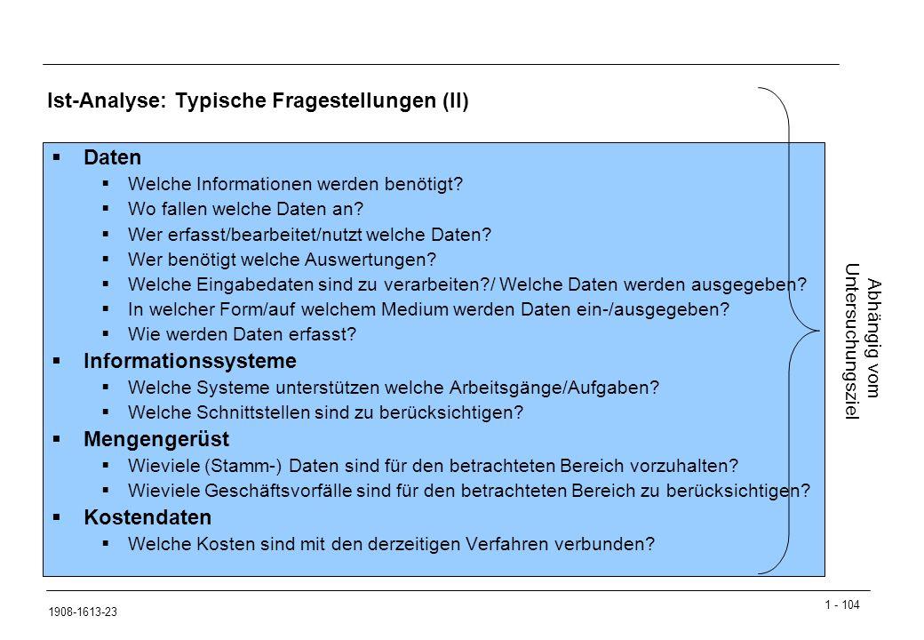 Ist-Analyse: Typische Fragestellungen (II)