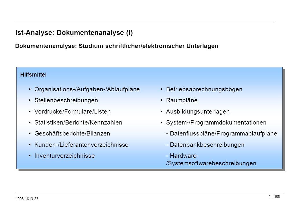 Ist-Analyse: Dokumentenanalyse (I)