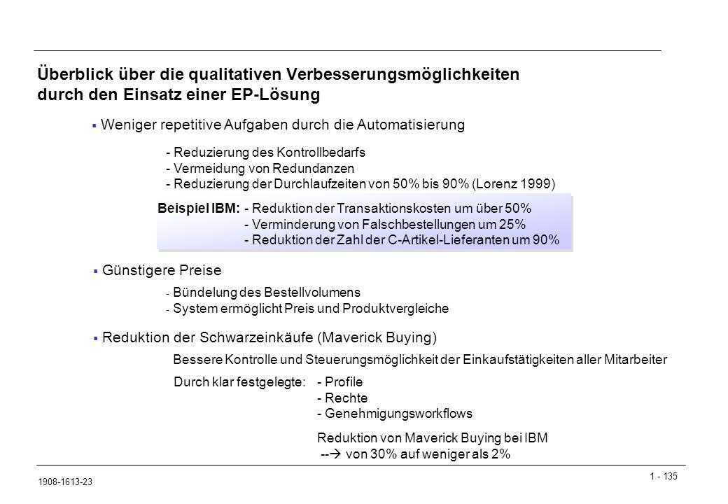 Überblick über die qualitativen Verbesserungsmöglichkeiten durch den Einsatz einer EP-Lösung