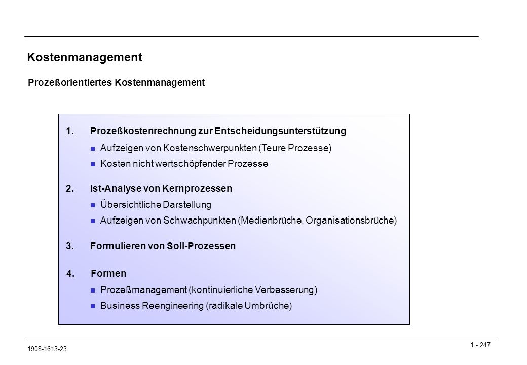 Kostenmanagement Prozeßorientiertes Kostenmanagement