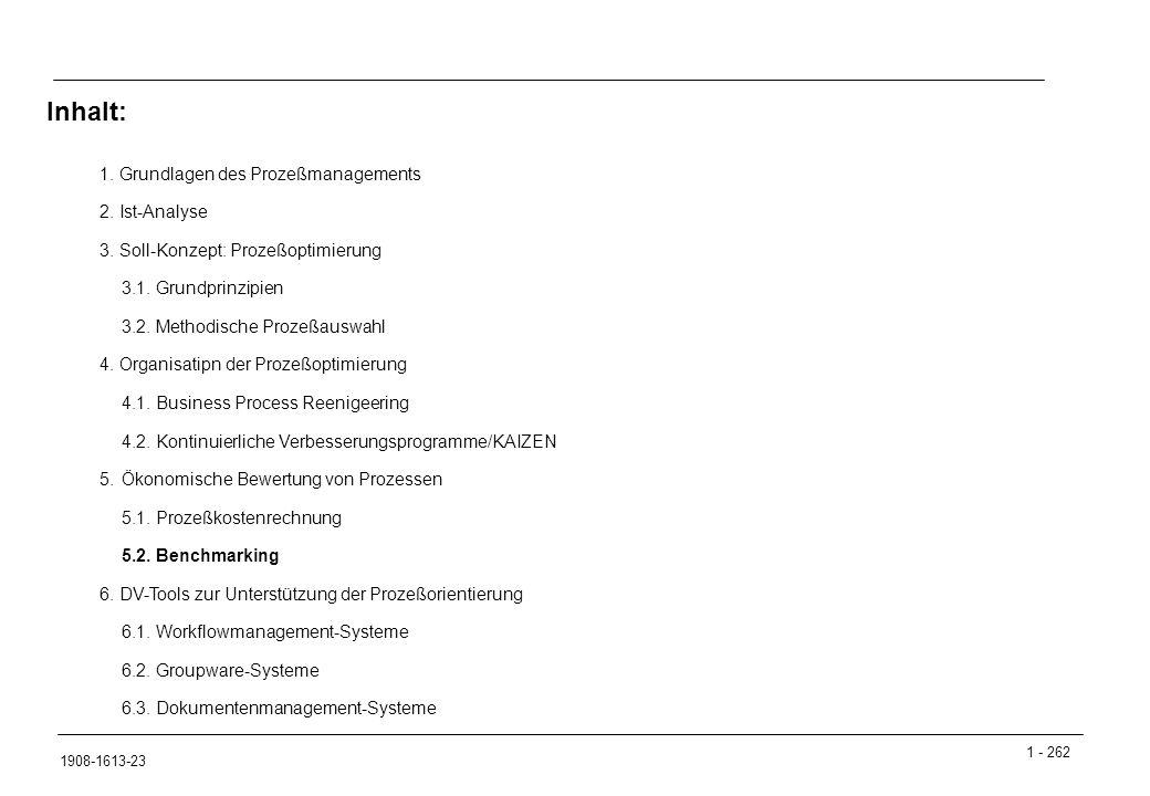 Inhalt: 1. Grundlagen des Prozeßmanagements 2. Ist-Analyse
