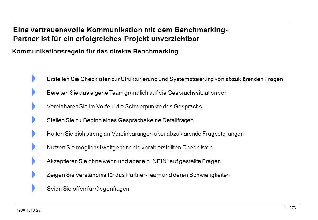 Eine vertrauensvolle Kommunikation mit dem Benchmarking- Partner ist für ein erfolgreiches Projekt unverzichtbar