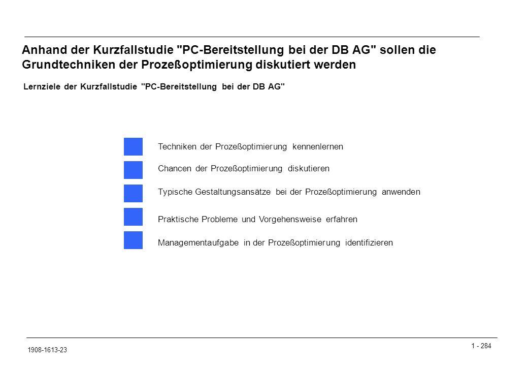 Anhand der Kurzfallstudie PC-Bereitstellung bei der DB AG sollen die Grundtechniken der Prozeßoptimierung diskutiert werden