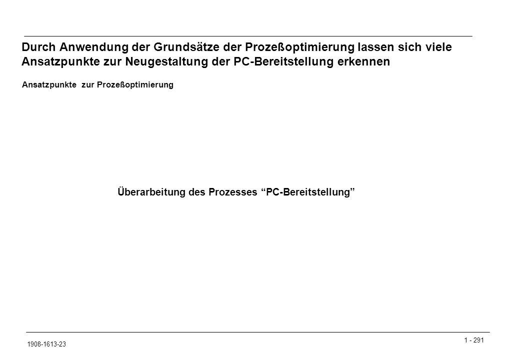 Durch Anwendung der Grundsätze der Prozeßoptimierung lassen sich viele Ansatzpunkte zur Neugestaltung der PC-Bereitstellung erkennen