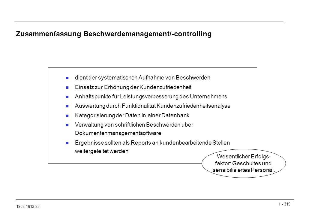 Zusammenfassung Beschwerdemanagement/-controlling