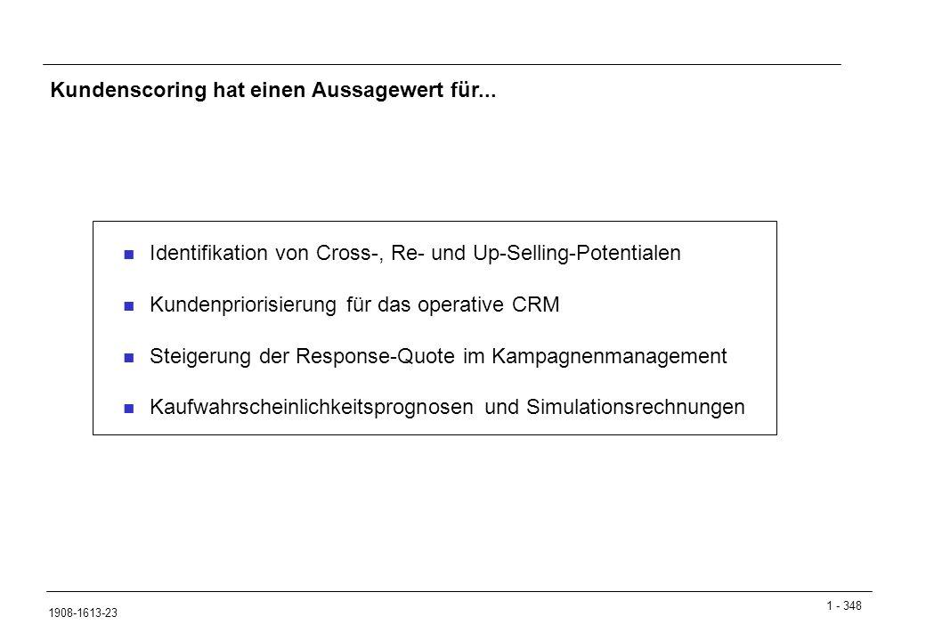 Kundenscoring hat einen Aussagewert für...