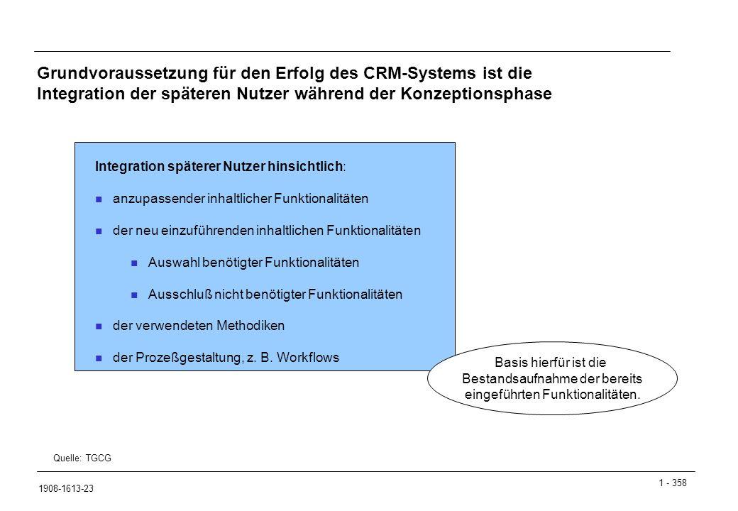 Grundvoraussetzung für den Erfolg des CRM-Systems ist die Integration der späteren Nutzer während der Konzeptionsphase
