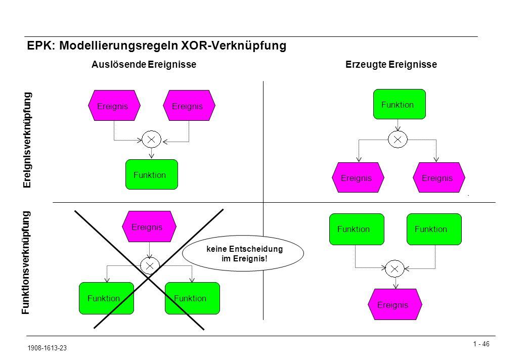 EPK: Modellierungsregeln XOR-Verknüpfung