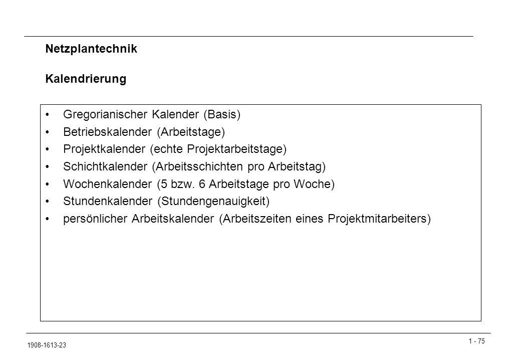 Gregorianischer Kalender (Basis) Betriebskalender (Arbeitstage)