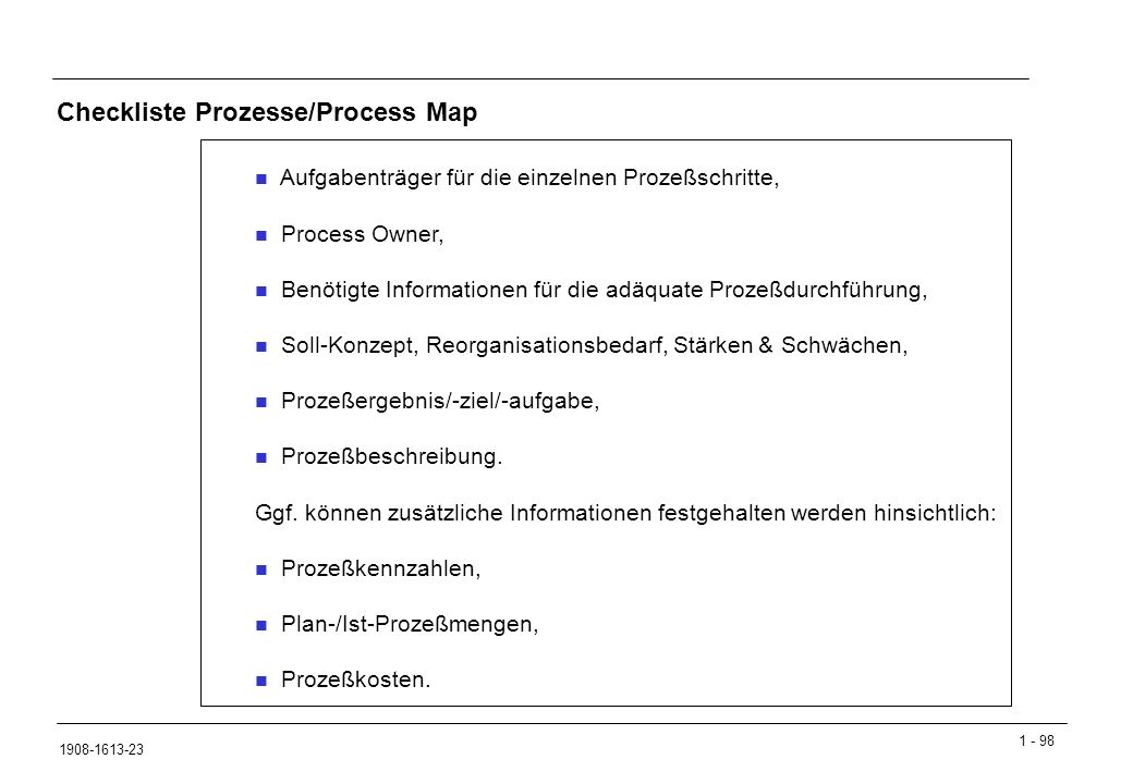 Checkliste Prozesse/Process Map