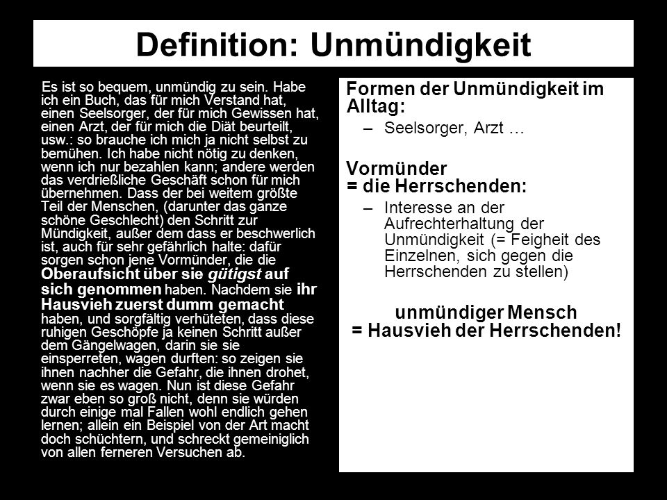 Definition: Unmündigkeit